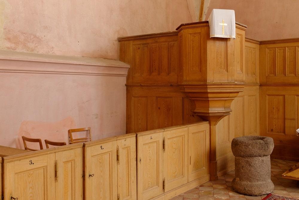 Kanzel und Patronatsgestühl in der Kirche in Gramzow